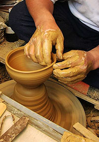 Japanese potter's hands at work