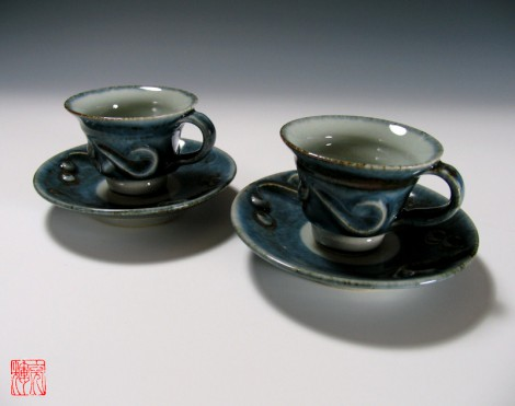 Gosu Senmon Tea Cup Set by Kawai Akiteru: click to enlarge