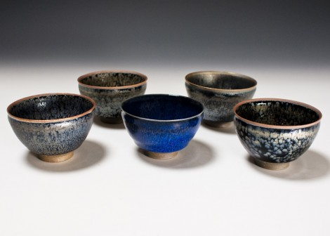 Tenmoku Yuwan Green Tea Cup Set by Kamada Kōji: click to enlarge