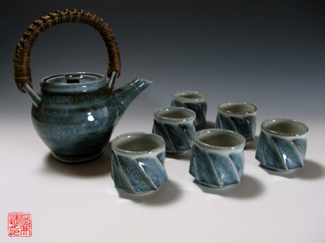 Gosu Mentori Green Tea Set by Kawai Tōru: click to enlarge