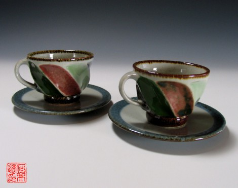 Yonsai Mentori Tea Cup Set by Kawai Tōru: click to enlarge
