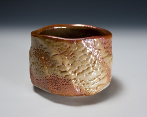 Yōhen-kin Shino Tea Ceremony Bowl by Suzuki Tomio: click to enlarge