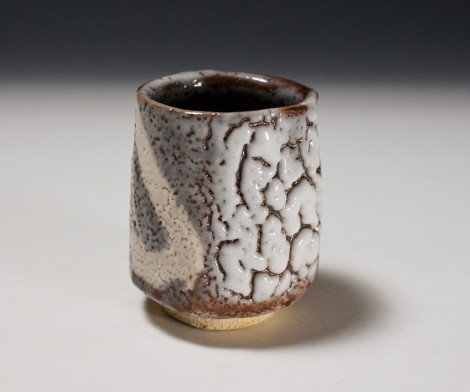 Nezumi Shino Green Tea Cup by Suzuki Tomio: click to enlarge