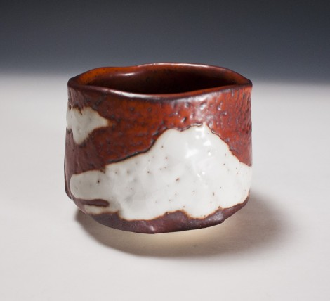 Aka Shino Tea Ceremony Bowl by Suzuki Tomio: click to enlarge