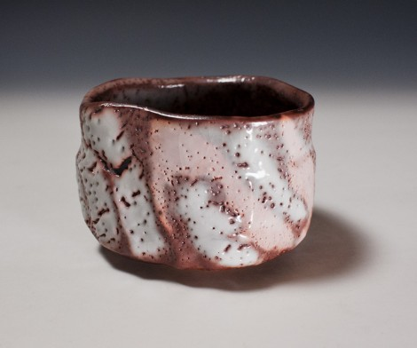 Murasaki Shino Tea Ceremony Bowl by Suzuki Tomio: click to enlarge