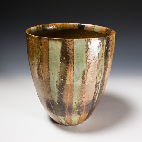 Haiyūsai Ash Glazed Henko Tsubo Jar by Ikai Yūichi: click to enlarge