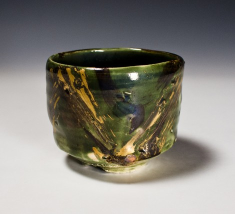 Ryokuyū Kinsai Tea Ceremony Bowl by Ikai Yūichi: click to enlarge